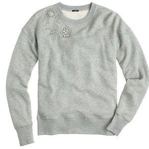J Crew Jeweled Collar Sweatshirt